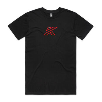 Mens KTR Race T-Shirt, Black, Red & White Print Thumbnail